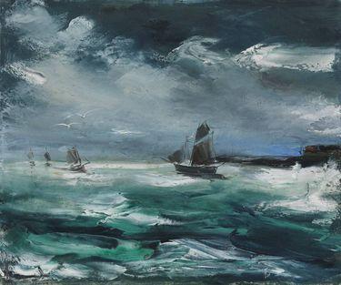 Segelboot auf stürmischer See