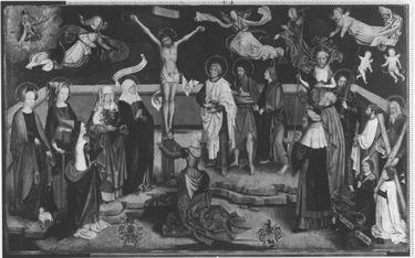 Christus am Kreuz mit Heiligen (Epitaph der Familie Ridler)