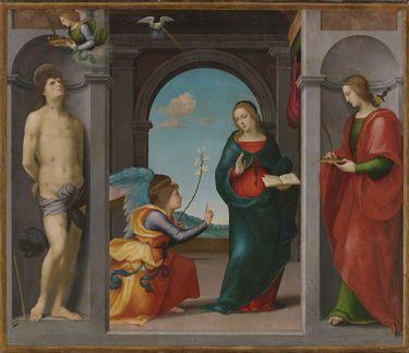 Verkündigung Mariae zwischen den hll. Sebastian und Lucia