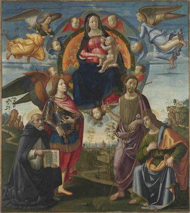 Hochaltar von Santa Maria Novella: Maria mit Kind und den hll. Dominikus, Michael, Johannes dem Täufer und Thomas