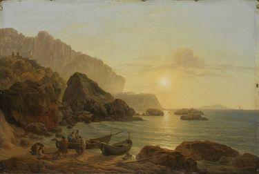 Küste von Capri bei Sonnenuntergang