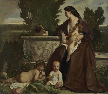 Familienbild (Eine Mutter mit spielenden Kindern an einem Springbrunnen)