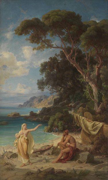Odysseus nimmt Abschied von Kalypso