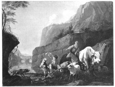 Hirten mit Tieren am Wasser