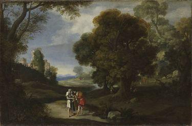 Landschaft mit Bettlern und römischen Ruinen