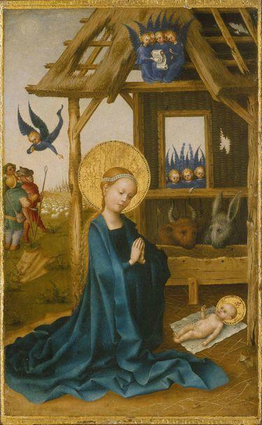Anbetung des Kindes (Rückseite: Kreuzigung Christi)