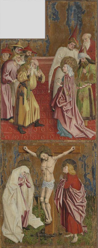 Kreuzaltar, Flügelaußenseite: Die Kaiserin Helena befragt die Juden und Kreuzigung Christi