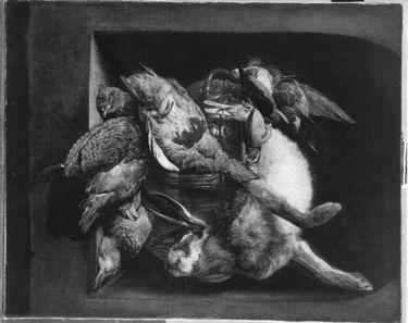 Stillleben mit Rebhühnern, Hase und Vögeln