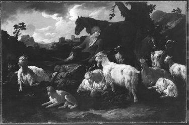 Hirte mit Ziegenherde, Pferd und zwei Hunden