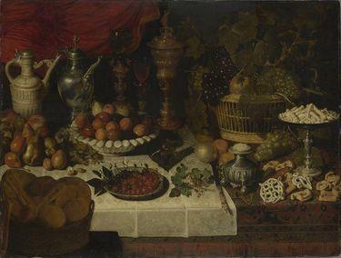 Stillleben mit Tafelgerät und Früchten