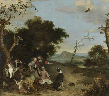 Bildnis von drei Kindern in einer Landschaft mit Jagdbeute