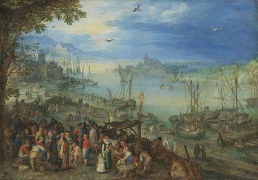 Fischmarkt am Ufer eines Flusses