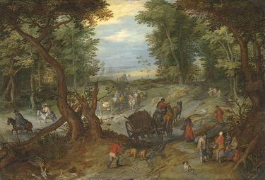 Waldstraße mit Reisenden