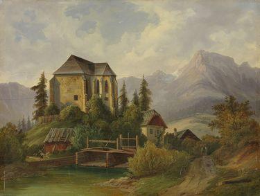 Alpenlandschaft mit gotischer Kapelle
