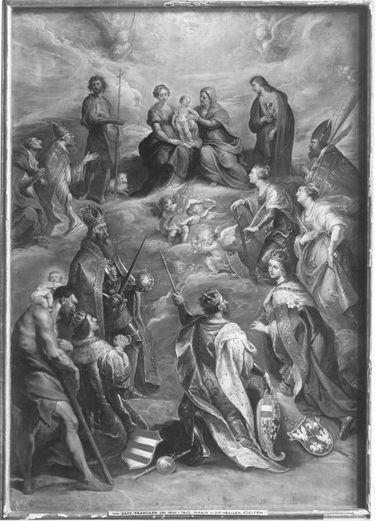 Maria mit dem Kind und der hl. Anna, umgeben von Heiligen und den Heiligen des Hauses Österreich-Habsburg