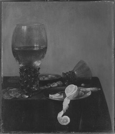 Stillleben mit Römer, Austern, Zitrone und Oliven