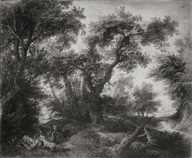 Waldlandschaft mit Jagdszene