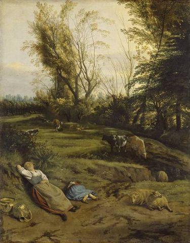 Viehweide mit schlafender Hirtin