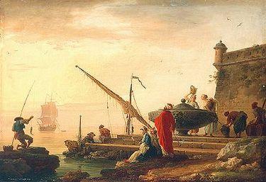 Orientalischer Seehafen bei Sonnenaufgang