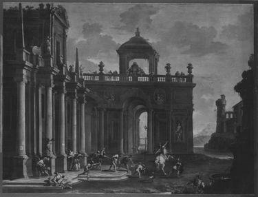 Architekturbild mit der Gefangennahme Simsons