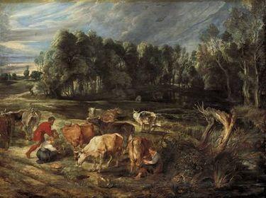 Landschaft mit einer Kuhherde