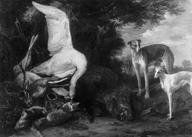 Erlegtes Wild, von zwei Hunden bewacht