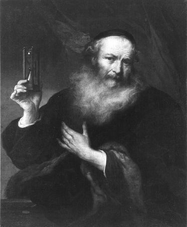 Bildnis eines alten Mannes mit Stundenglas