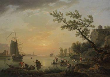 Seehafen bei Sonnenuntergang