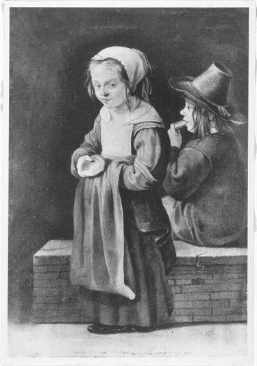 Mädchen und Knabe beim Vespern