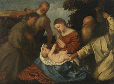 Maria mit Kind, den hll. Antonius Abbas, Hieronymus und Franziskus