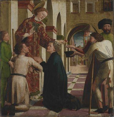 Laurentius-Altar: Almosenspende des hl. Laurentius