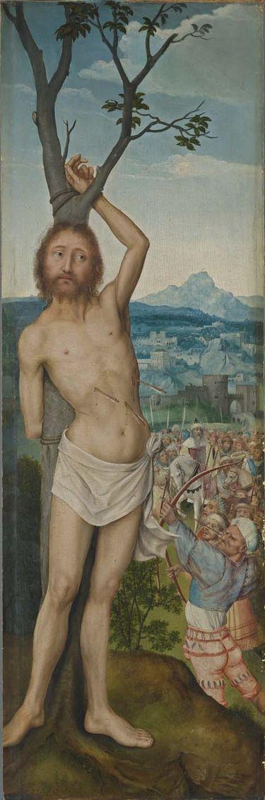 Rem-Altar: Martyrium des hl. Sebastian (Rückseite: Hl. Lukas)