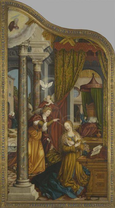 Wettenhauser Hochaltar: Verkündigung an Maria Rückseite: Abschied Christi (linke Hälfte)