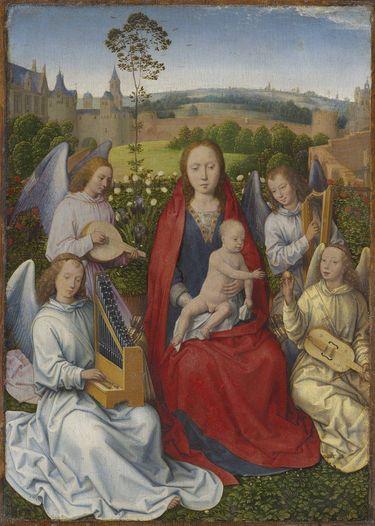 Tafel eines Diptychons: Maria im Rosenhag
