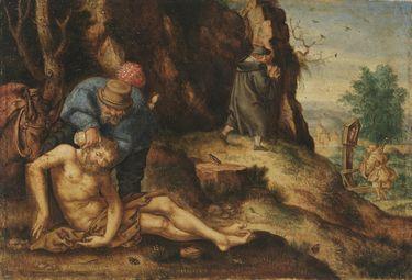 Der barmherzige Samariter pflegt den Verletzten