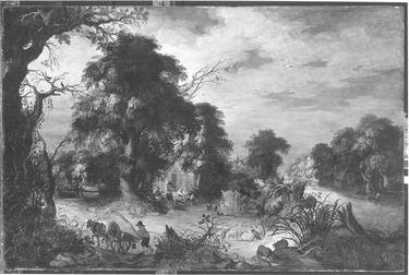 Waldlandschaft mit Bauern