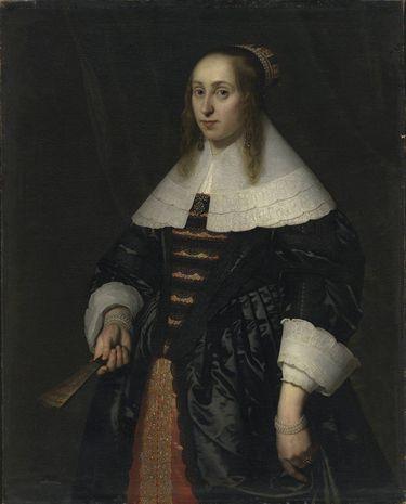 Bildnis einer Frau in schwarzer Atlasrobe