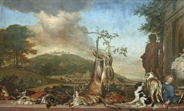 Jagdstillleben vor einer Landschaft mit Schloss Bensberg