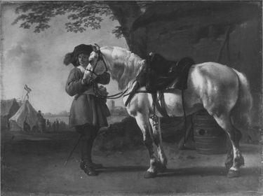 Offizier mit Federhut und Pferd