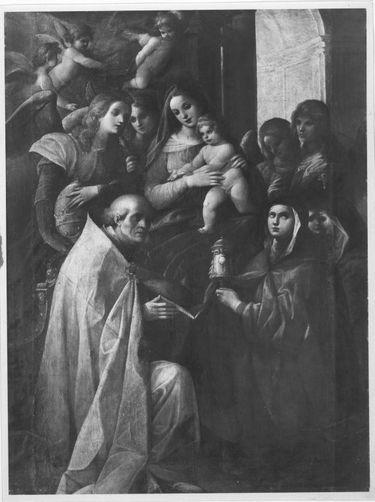Madonna mit Kind, Engeln und Heiligen