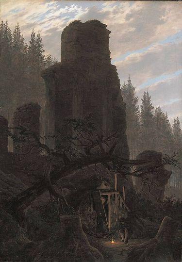Ruinen in der Abenddämmerung (Kirchenruine im Wald)