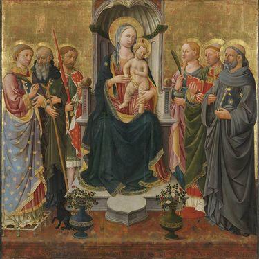 Thronende Madonna mit Kind und den hll. Laurentius, Antonius Abbas, Julian, Lucia, Cyriacus und Johannes Gualbertus (Sacra Conversazione)
