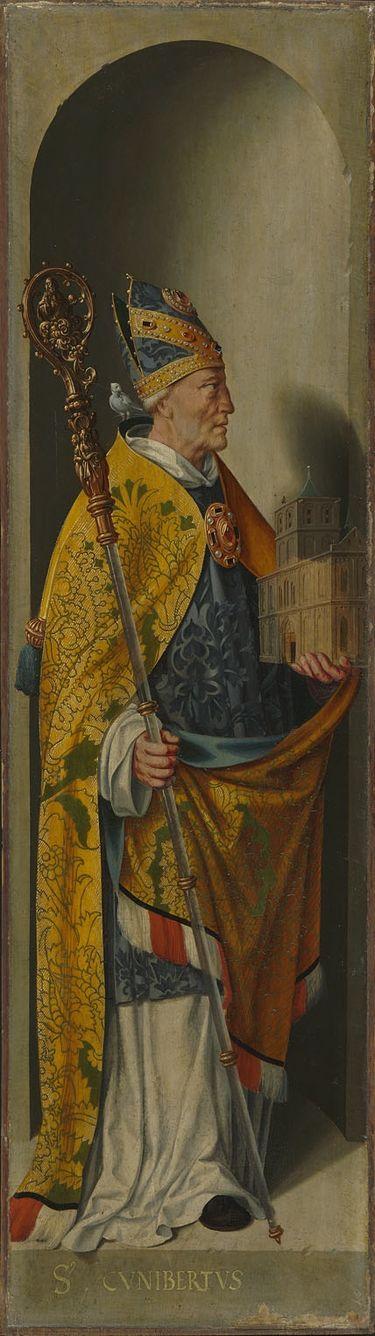 Beweinungsaltar, Flügelaußenseite: Hl. Kunibert