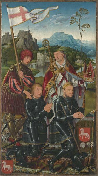 Marientod-Altar: Die hll. Nicasius und Georg mit den Stiftern Nicasius und Georg Hackeney Außenseite: Hll. Anna Selbdritt und Christophorus