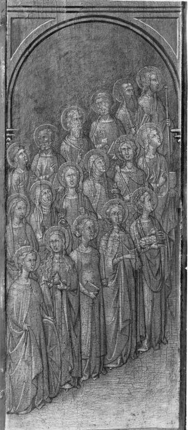 Zwei Reihen weibliche Heilige und Apostel