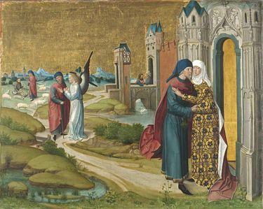 Marienleben: Joachim und Anna an der Goldenen Pforte (Rückseite: obere Hälfte einer Kreuzigung Christi)