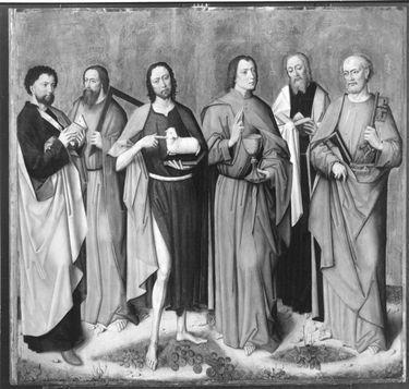 Apostelaltar: Hll. Bartholomäus, Thomas, Johannes d. T., Johannes d. Ev., Matthäus, Petrus