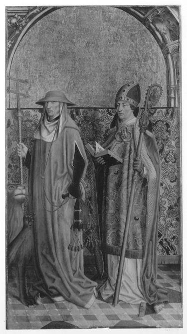 Der hl. Hieronymus und ein hl. Bischof (Ambrosius?) Außenseite: Vision des hl. Bernhard