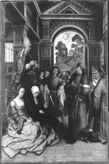 Predigt des hl. Ambrosius Außenseite (in Resten): 2 stehende hl. Bischöfe