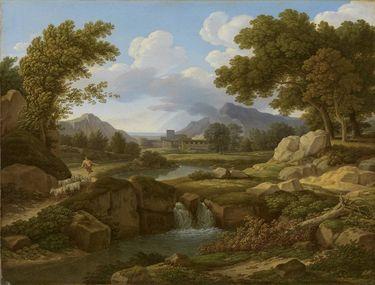 Landschaft mit Hirt und Ziegen